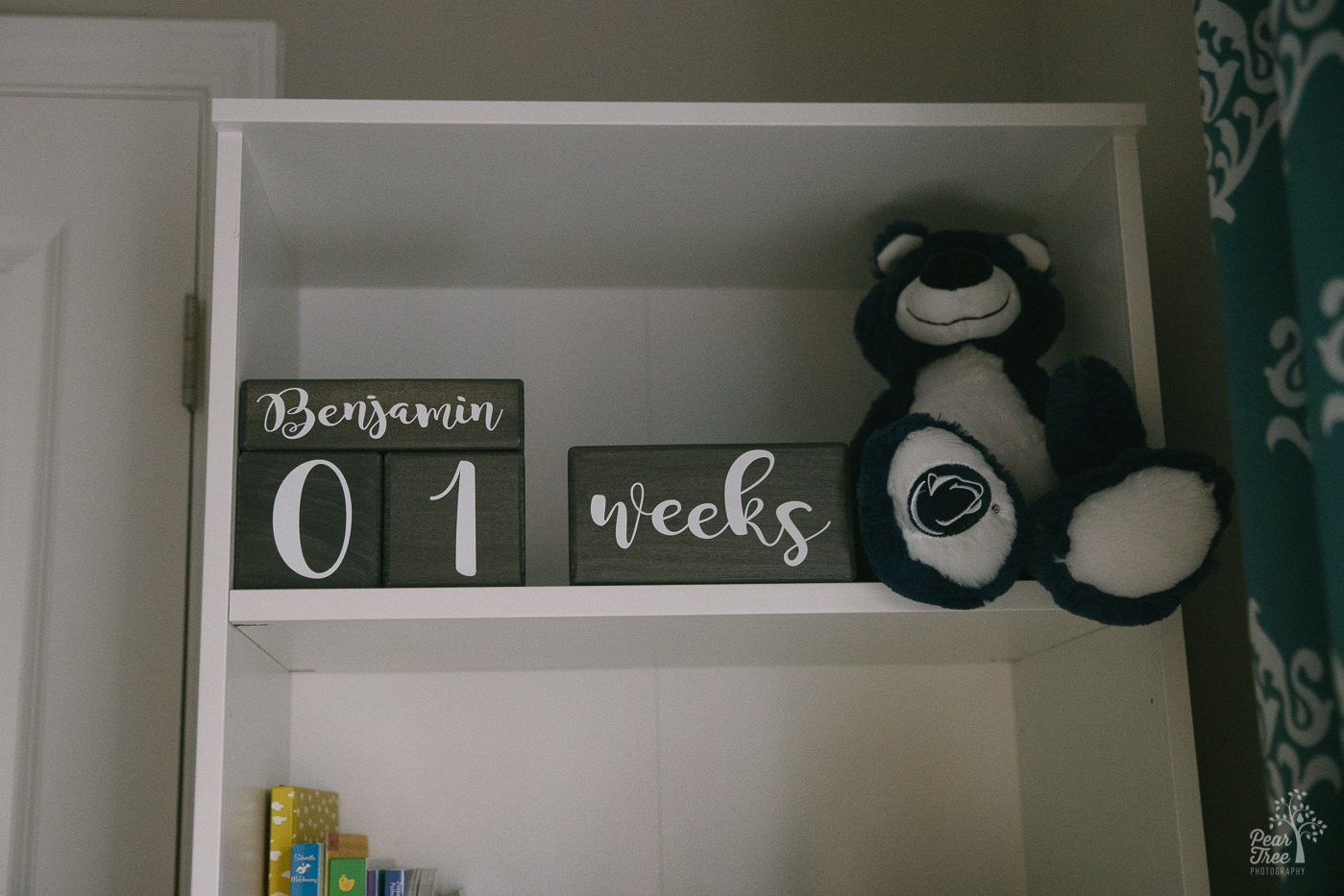 Newborn Benjamin's shelves counting his age in blocks with a Blue bear.