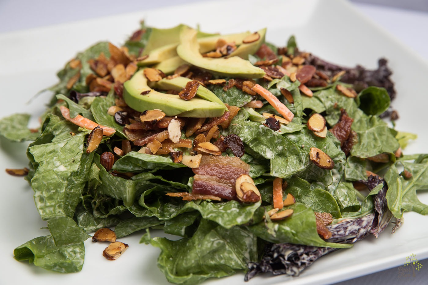 Delicious spring salad with fresh avocado slices, fried bacon, almond slivers, raisins, and carrot slices created by Divine Taste of Heaven