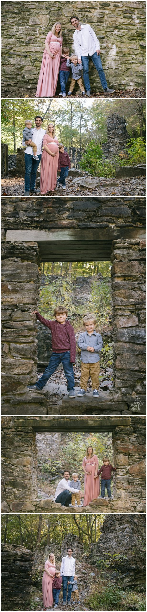 Family of four at Sope Creek Mill Ruins in the fall