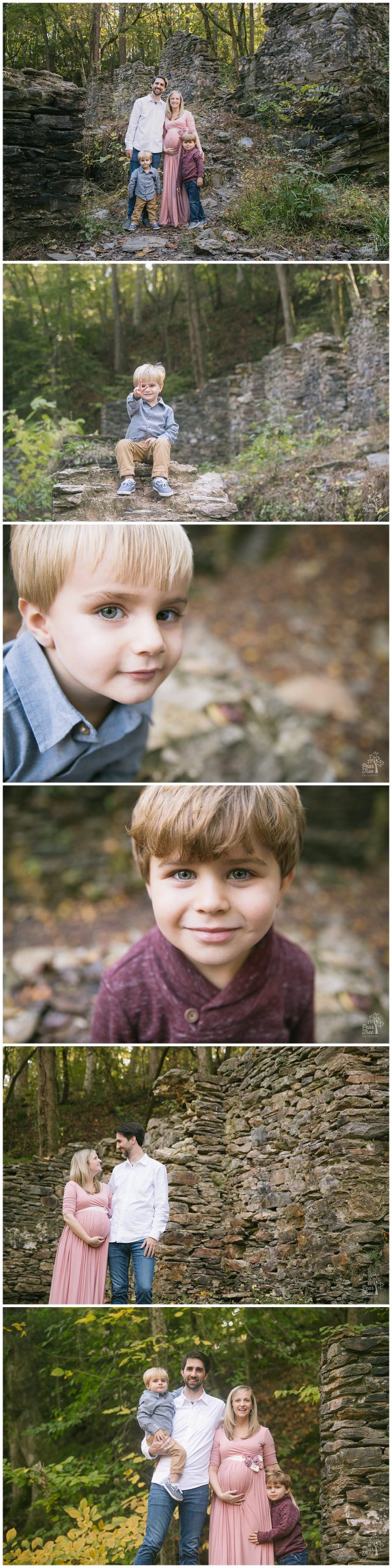 Two cute brothers being sweet with their parents at Sope Creek Mill Ruins