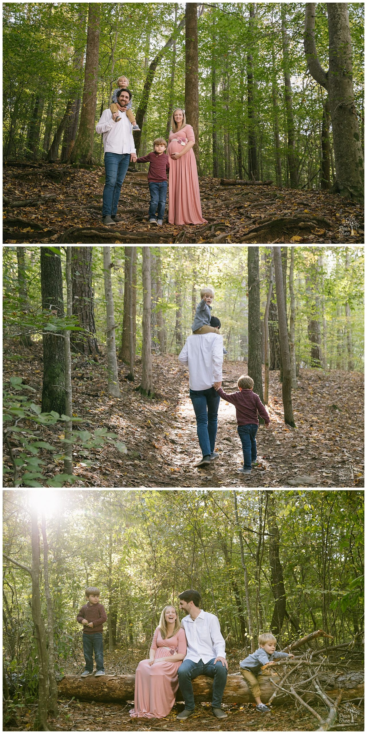 Family of four in the fall at Sope Creek in East Cobb