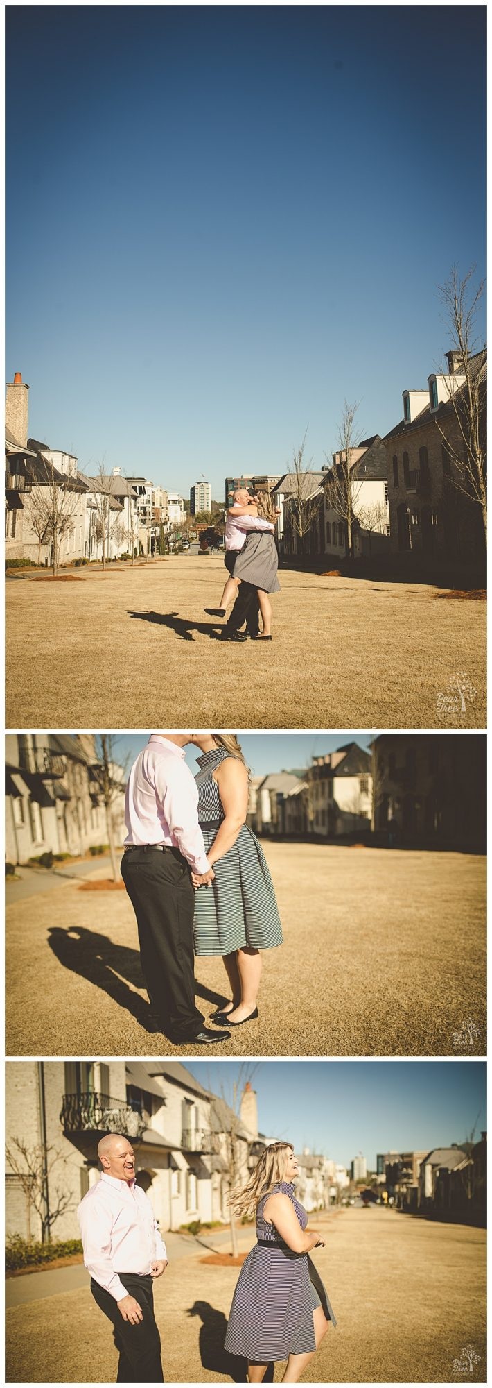 Sweet engaged couple kissing, dancing, and being silly during their engagement session in Avalon.