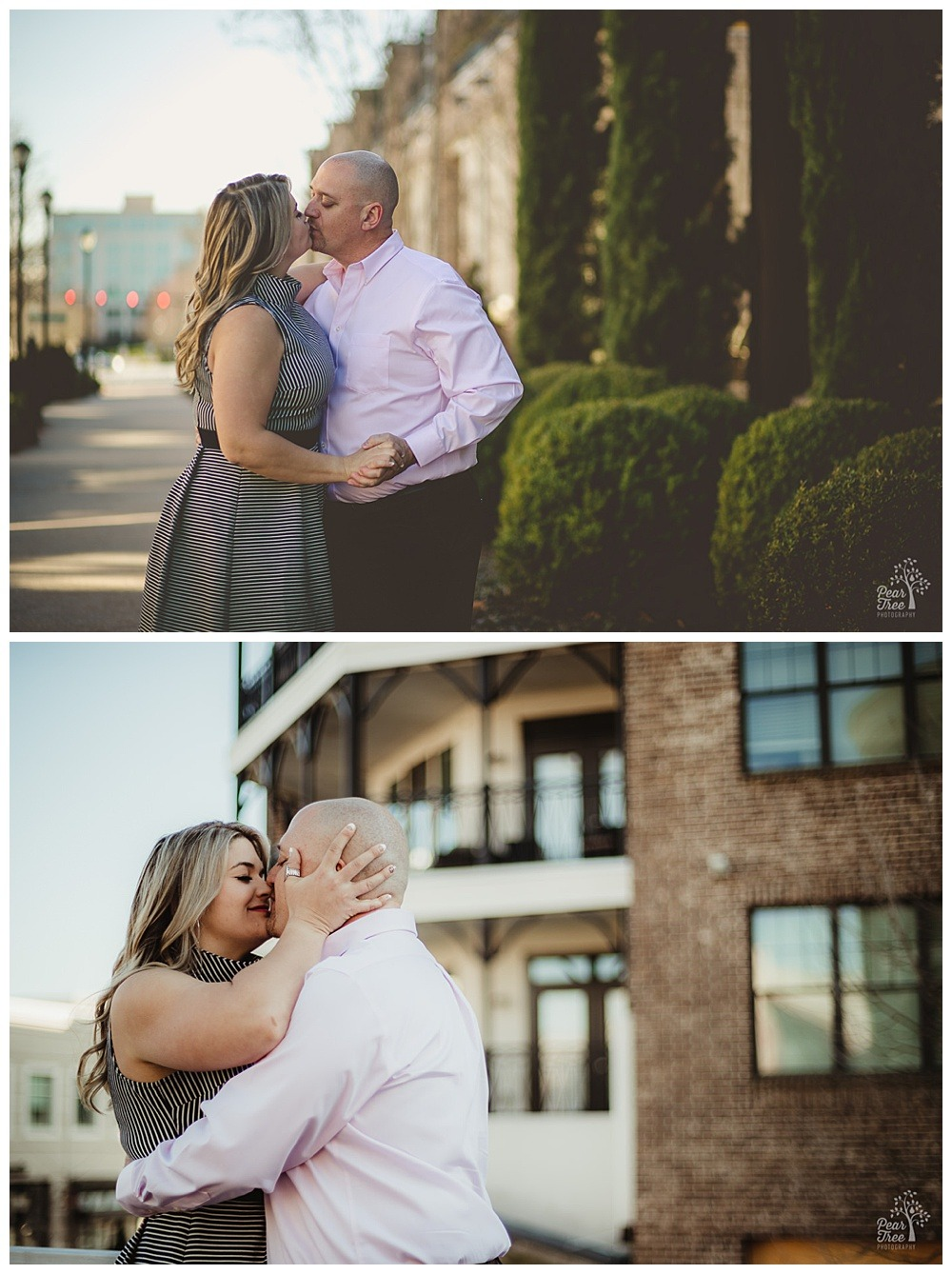 Sweet couple kissing at Avalon during their engagement session